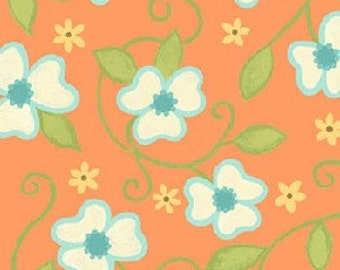 Sanibel Floral Vine in Orange by Henry Glass - 1 Yard