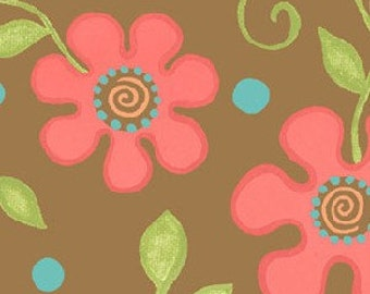 Sanibel Flowers and Dots in Brown by Henry Glass - 1 Yard