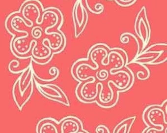 Sanibel Floral Outline in Coral by Henry Glass - 1 Yard