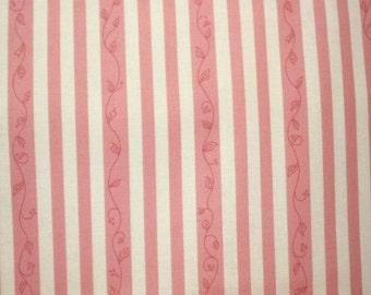 Elizabeth's Letters Stripe in Pink by Jill Finley for Henry Glass - 1 Yard