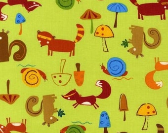 Animal Party Too Woodland Animals in Earth by Amy Schimler for Robert Kaufman - 1 Yard