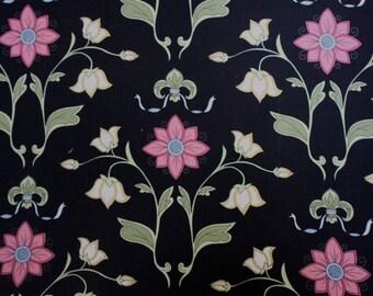 Elizabeth's Letters Main Floral in Black by Jill Finley for Henry Glass - Last Yard
