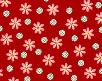 Daisy Dance Daisy Dot Grid in Red by Kari Ramsay for Henry Glass - 1 Yard