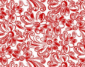 Daisy Dance Feedsack Daisy in Red by Kari Ramsay for Henry Glass - Last Yard