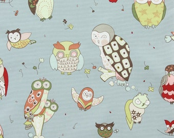 It's a Hoot in Blue Gray Home Decor Fabric by Alexander Henry - 1 Yard