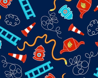 Off to the Rescue Allover in Navy by Newcastle Fabrics - 1.5