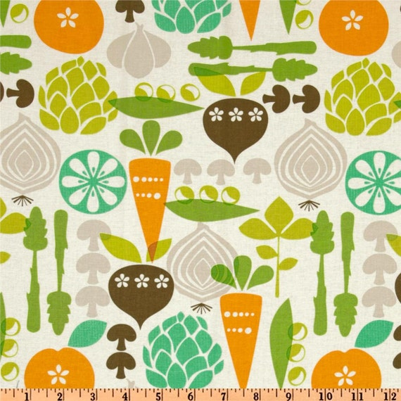 Kitchy Kitchen Vegetable Garden in Linen by Maude Asbury for Blend Fabrics - 4 Yards reserved for greenwinger