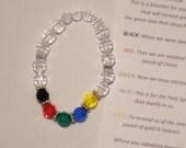 Salvation Bracelet, plastic beads,Christian, Christ, Jesus, religious, baptism, clear, black, red, green, blue, gold
