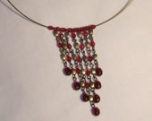 Choker style necklace deep red or even granet, beaded