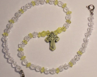 CROSS NECKLACE, yellow and clear childs or youg girls necklace with cross