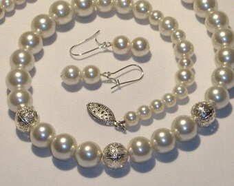 Glass pearl beaded cream color necklace and dangle earrings, filigree bead accent, jewelry set