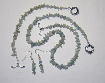 NATURAL STONE CHIP JEWELRY SET, very pale green natural stone chips with silver color spacers, necklace, bracelet, dangle earrings, wonderful spring or summer item, delicate feel
