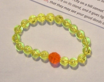 CONFORMITY BRACELET, DO NOT CONFORM TO THIS WORLD, bracelet, yellow beads with one orange bead, be different