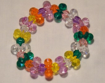 Funky fun child's bracelet, plastic beaded bright colored and fun funny bracelet, unique