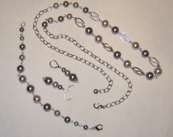 GLASS PEARL AND CHAIN JEWELRY SET, charcoal grey, light grey, necklace, bracelet, earrings