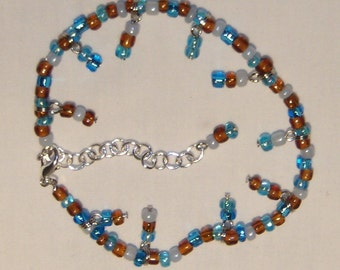 CHARMED I'M SURE BEADED CHARM ANKLET, browns, blues, ten handmade charms