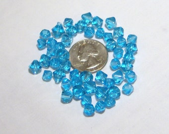 BLUE ACRYLIC BICONE BEADS, 25 med, 25 large, 50 total