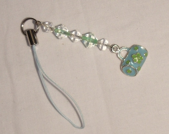Lime Green, Blue cell phone pocketbook charm, zipper pull, lanyard, cell phone charm