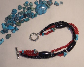 BRACELET, AZTEC, INDIAN, SOUTHWESTERN, turquoise, red and black bracelet, beaded, triple strand