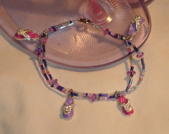 Flip Flop time beaded bracelet with flip flop charms, pink, purple