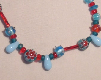 Bracelet, beaded, stretch, blue and red
