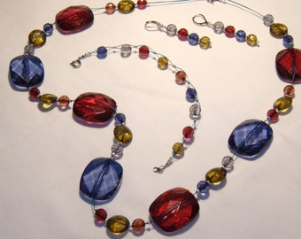 Bold, chunky JEWELRY SET, necklace, bracelet, earrings, colorful faceted beads, beautiful for fall