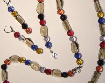 Fall colors JEWELRY SET, necklace, bracelet and dangle earrings, blue, red, grey, yellow, orange and black, dark colors
