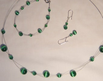 Pretty Summer Green, necklace, bracelet, earrings, light and airy