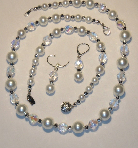 White glass pearl and clear faceted beaded jewelry set, necklace, bracelet, earrings