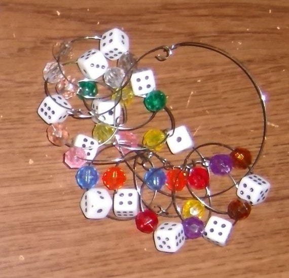 Bunco or game wine glass charms, white dice, wine tag, drink tag