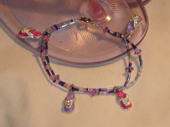 Flip Flop time beaded bracelet with flip flop charms, pink, purple