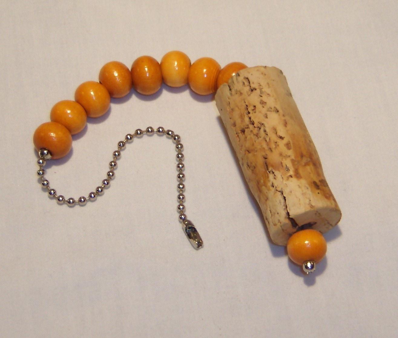 Cork Beads: WINE CORK CEILING FAN PULL Wonderful Light Orange To