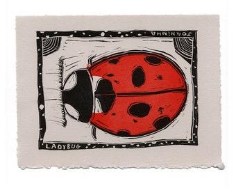 Linocut Print: Ladybug Letterpress Print, Black, Red, Hand-carved Linocut, Wall Decor, Home Decor, Art Print