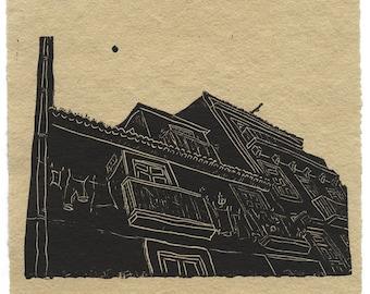 Linocut Print: Portugal, Black Linocut of an Antique Portuguese House, Lisbon Architecture, Wall Art