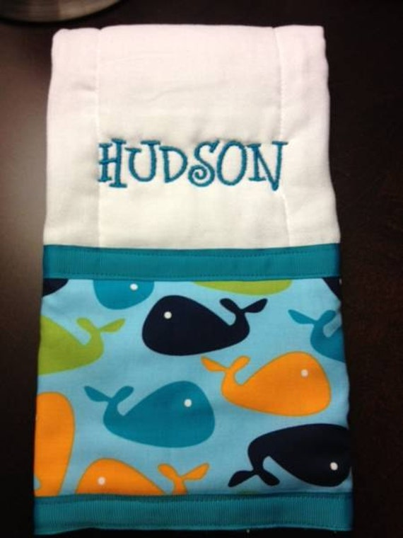 Personalized Monogrammed Whale Burp Cloth, Baby, Boys, Monogram is included in price