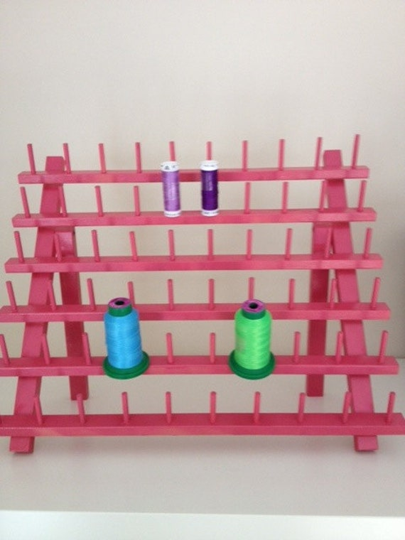 Pink Wood Thread Spool Holder (Can hold sewing thread and embroidery thread as shown in picture) Holds up to 60 Spools