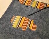 Blue Hooded Towel - Hippo Stripes