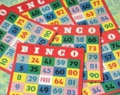 Set of 20 Fabulous Vintage Bingo Cards - Bright and Colourful