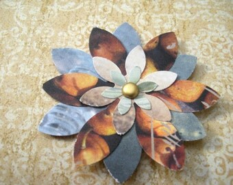 Recycled paper flower embellishments - sampler set of 4 - in earth tones
