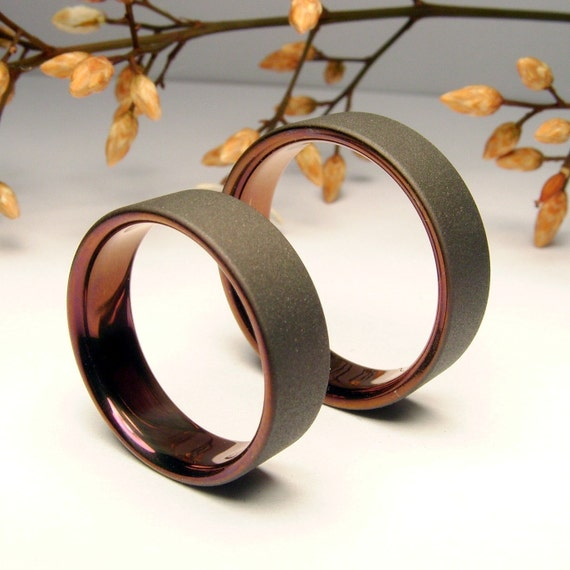 Items Similar To Bronze And Gray Titanium Band Wedding Or Anniversary Set On Etsy