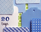 Blue paper Tags (set of 20)