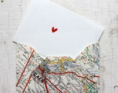 Handmade Map Envelopes, set of 4, from upcycled french vintage maps