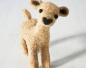 HEARTYE handmade felted love fawn with a big heart shaped nose, quality wool baby deer