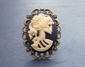 Skeleton Lady Cameo Ring - Vintage Style Jewelry - Gothic Jewel - Resin and Antiqued Brass Adjustable Ring - Zombie Girl, Dead Woman Skull