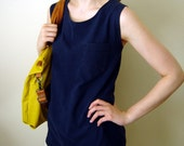 Repurposed Relaxed T-shirt Racer Tank - Navy, Small