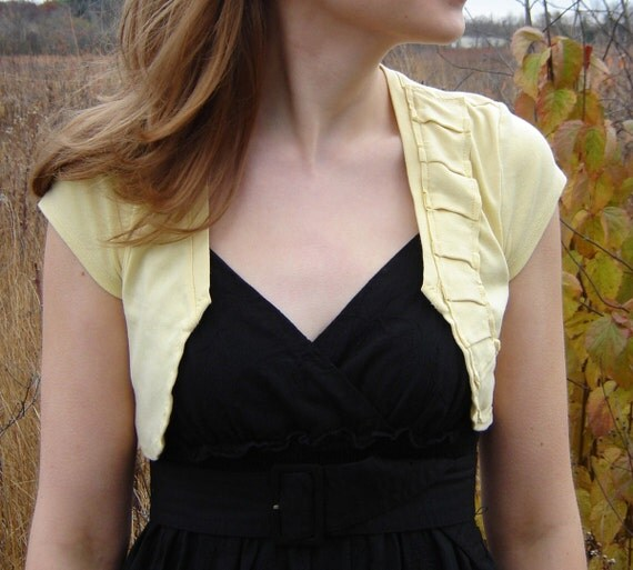 Repurposed Cotton Shrug with Pleats - Lemon Yellow, Small