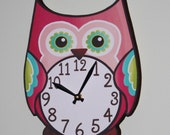 Pretty in Pink Owl Wooden WALL CLOCK Girls Bedroom Baby Nursery to Match Many Owl Bedding Themes