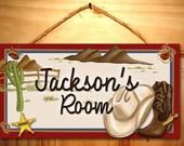 Cowboy Wild West Buckaroo Boys Bedroom Childrens Baby Nursery DOOR SIGN Wall Art Plaque DS0147