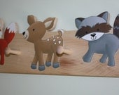 Woodland Animal Wooden CLOTHES PEG RACK for Kids Bedroom Baby Nursery