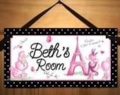 Ooh lala Paris Poodle Eiffel Tower Girls Bedroom DOOR SIGN Wall Art DS259